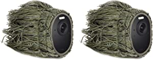 Ghillie Skin Compatible with Arlo Ultra/Ultra 2 & Arlo Pro 3/Pro 4 - Conceal and Protect Your Arlo Camera (2 Pack) (NOT Compatible with Arlo Essential Spotlight)