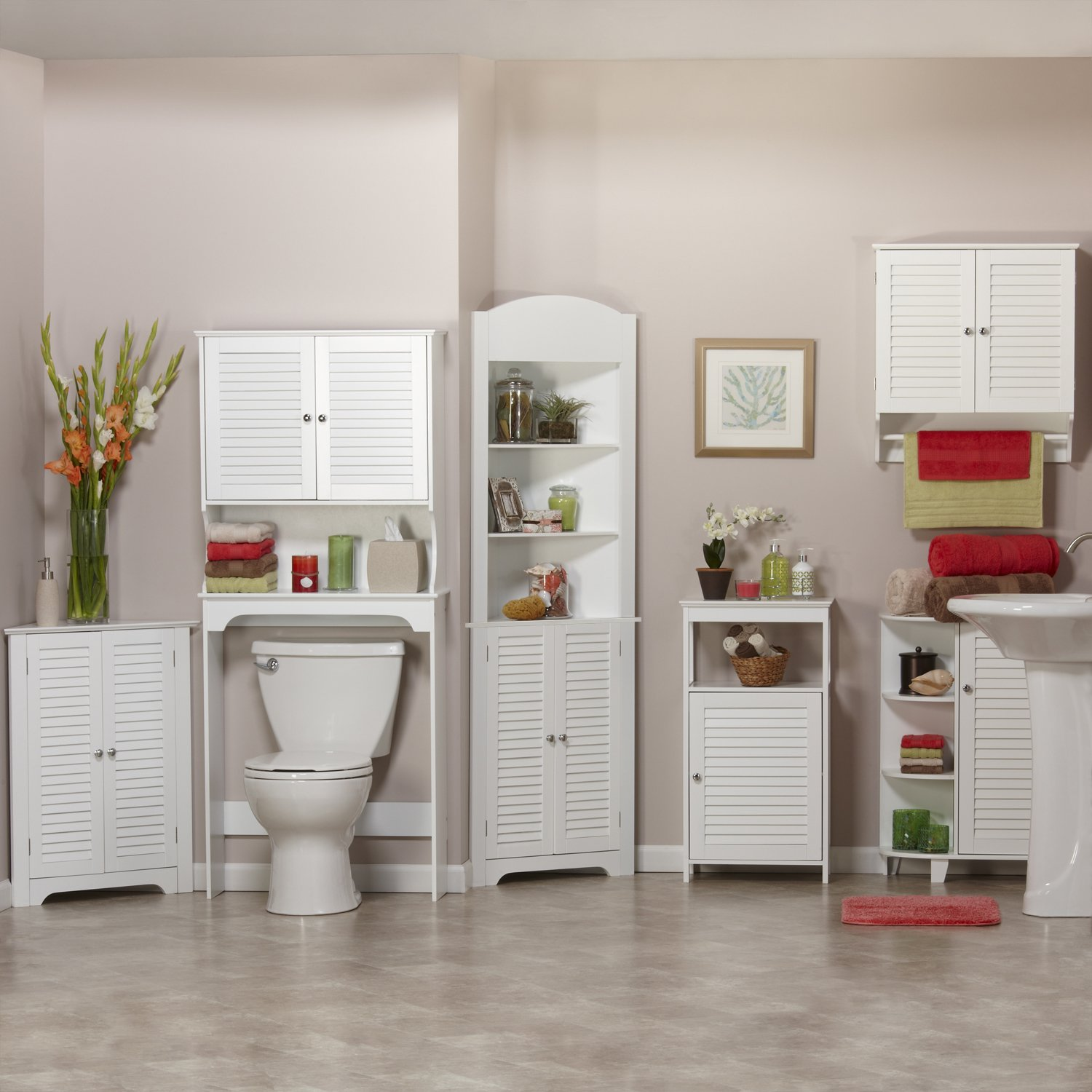 RiverRidge Ellsworth Collection Floor Cabinet with Side Shelves, White by RiverRidge Home Products (Image #3)