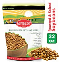 Sunbest Whole Soybeans, Roasted & Salted, Soy Nuts, US Product in Resealable Bag (2 Lb)