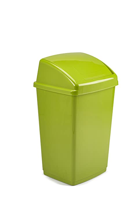 50 Litre Lime Green Plastic Rectangle Swing Bin