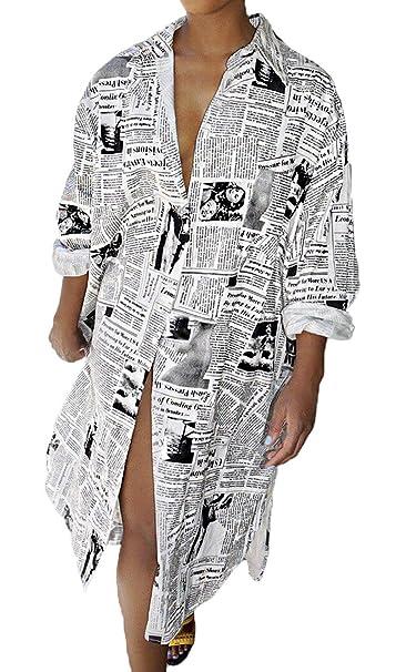 Amazon.com: JOKHOO Vestido de camisa suelta estampada con ...
