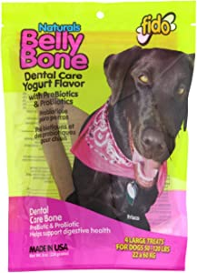 Fido Belly Dog Bone, Digestion Aid w/Prebiotic & Probiotic Enzymes for Dogs, Large 4 Pack