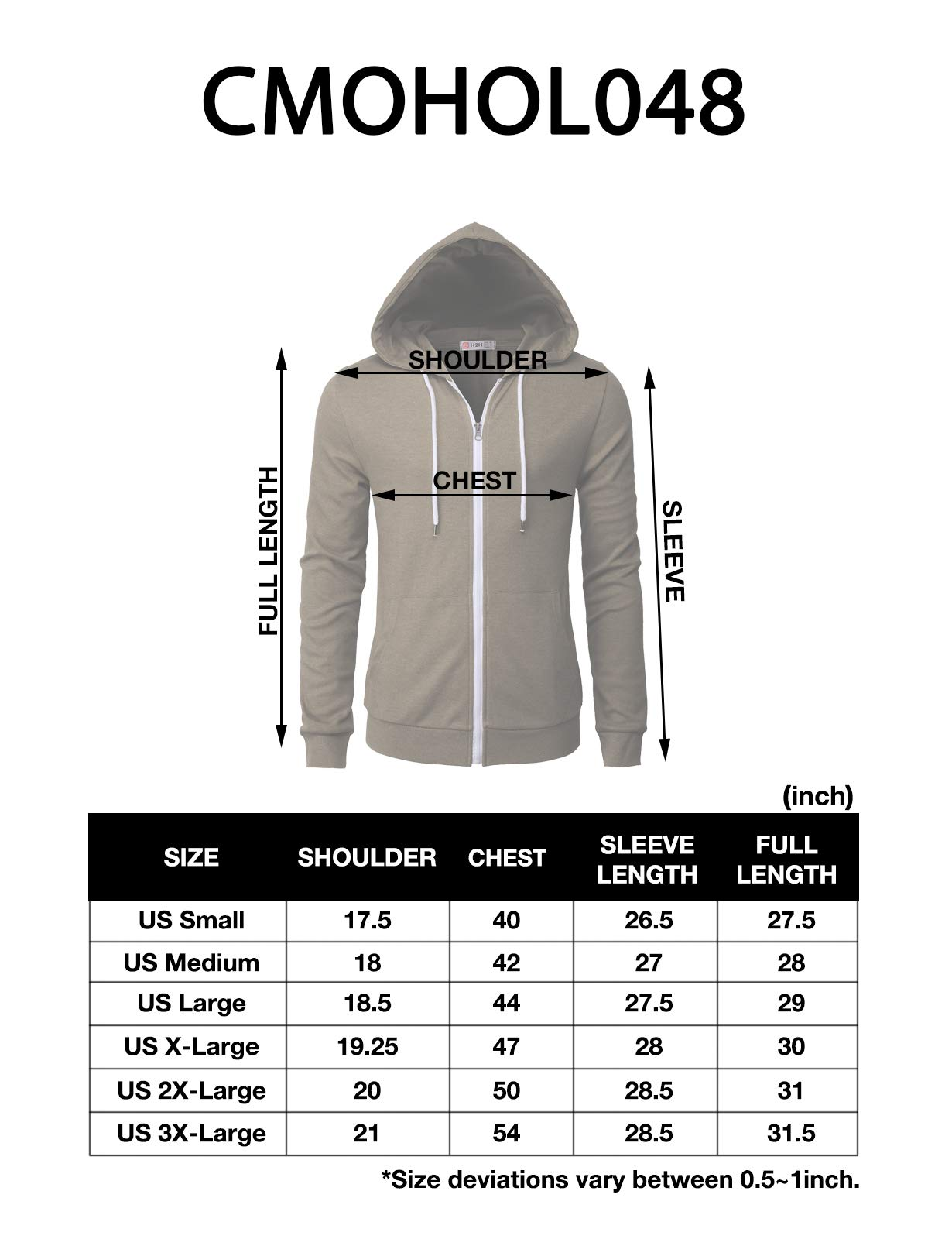 H2H Mens Casual Zip up Hoodie Basic Long Sleeve Zip up HEATHERBROWN US 2XL/Asia 3XL (CMOHOL048) by H2H (Image #7)
