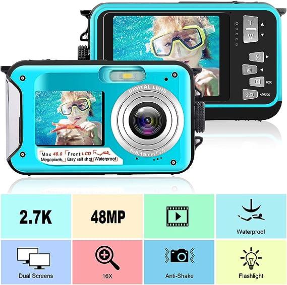 Waterproof Camera Full HD 2.7K 48 MP Underwater Camera Video Recorder Selfie Dual Screens 16X Digital Zoom Flashlight Waterproof Digital Camera for Snorkeling