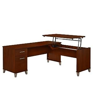 Bush Furniture Somerset 72W 3 Position Sit to Stand L Shaped Desk in Hansen Cherry