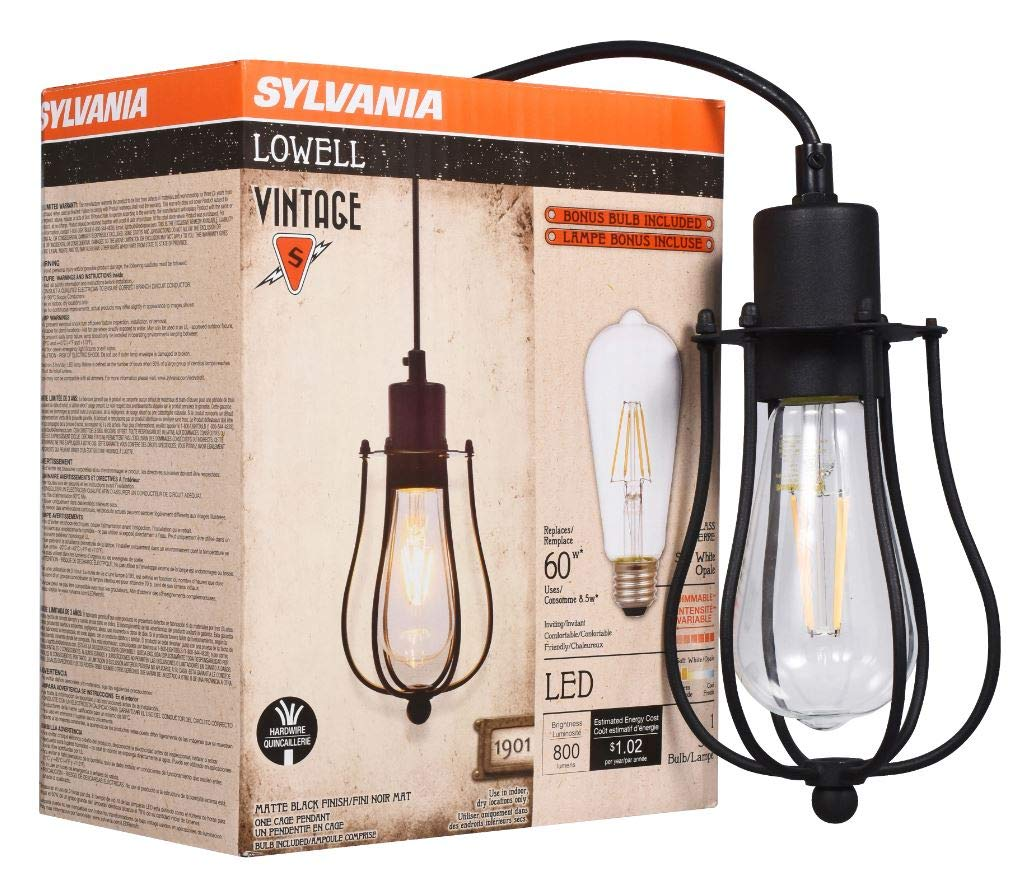 SYLVANIA General Lighting, Antique Black-California Compliant 60114 Sylvania 60113 Lowell Cage Pendant Light, LED, Dimmable Bulb Included Vintage Fixture