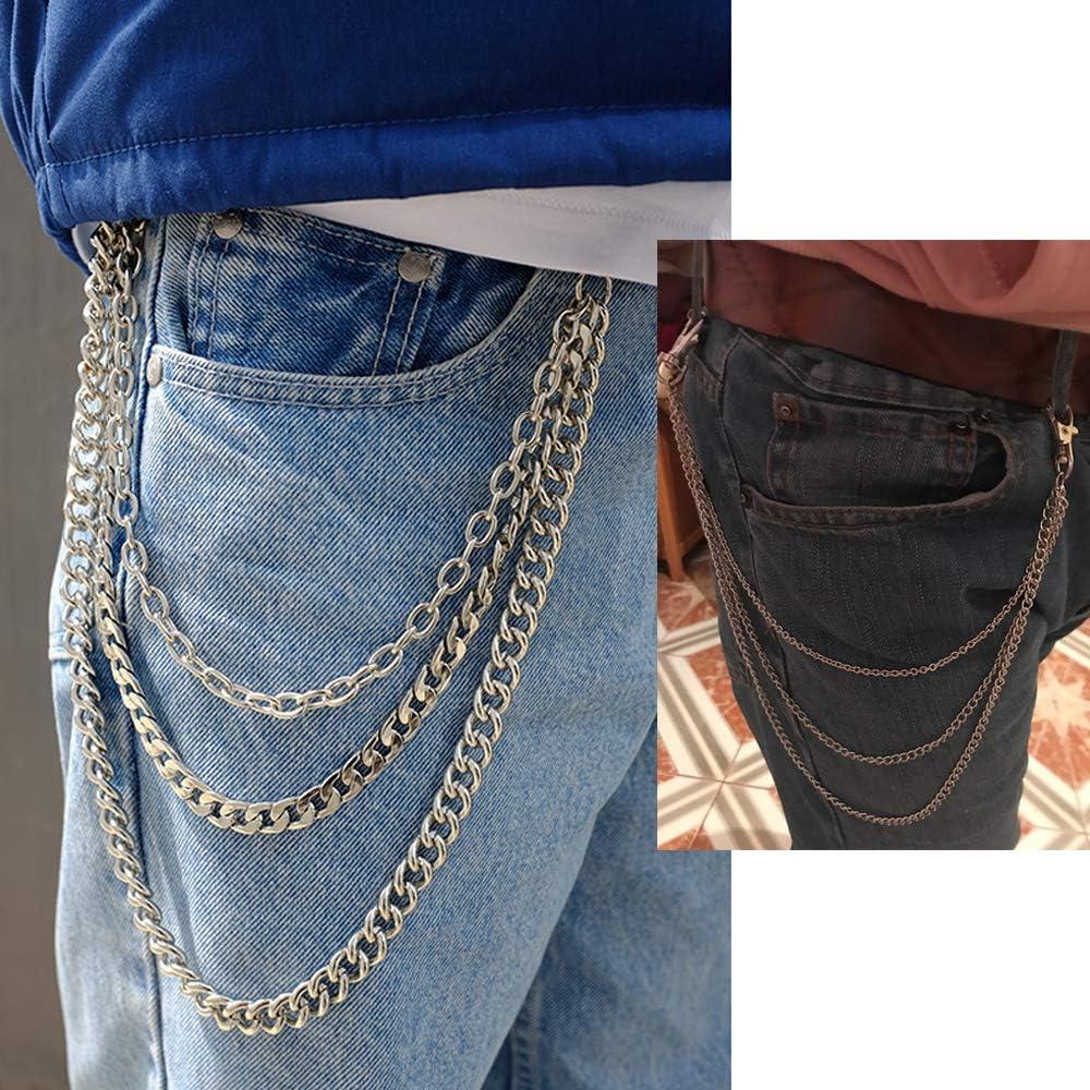 JaneYi 1 pi/èce Cha/îne de Pantalons Cha/îne de Jeans Punk Hip-hop Gothique Rock Cha/îne de Pantalons de Mode Cha/îne de Ceinture de Portefeuille en M/étal Porte-cl/és 3 en 1 pour Hommes Femmes Argent/é