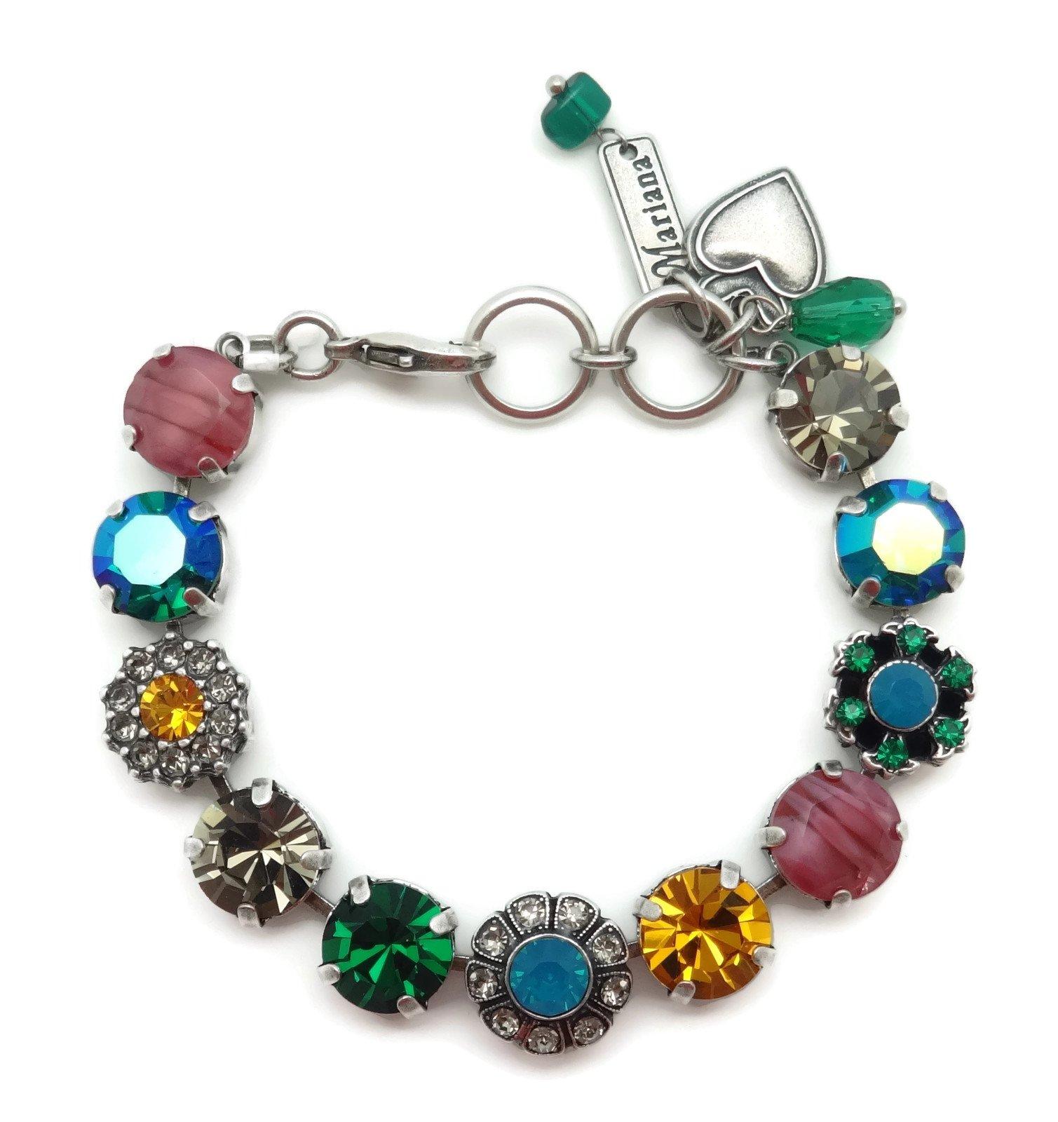 Mariana Silver Plated Swarovski Crystal Bracelet Multi Color Mosaic Design 1086 Odyssey Selene
