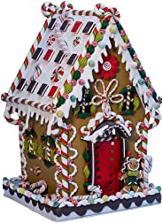 Kurt Adler J3579 Claydough and Metal Cookie and Candy Lighted House Decoration, 13-1/4-Inch