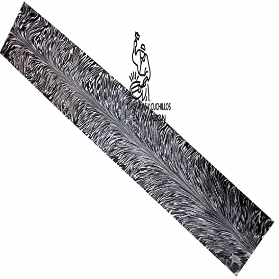 Barra de acero para hacer cuchillos con patrón de plumas de damasco hecho a mano, diseño de plumas de damasco, barra de acero en blanco para cuchillos ...
