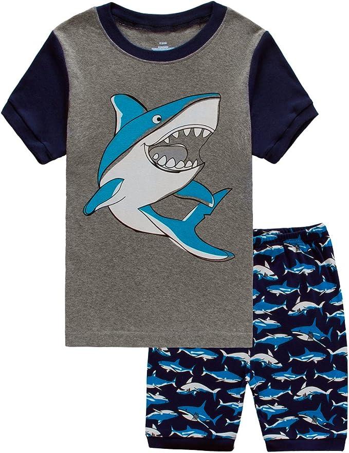 Little Boys Short Set Pajamas for Boys 100/% Cotton Toddler Trian Dinosaur Sleepwear Summer Clothes Size 2-7T