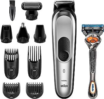 Braun Recortadora MGK7220 10 en 1, Máquina recortadora de barba, set de depilación corporal y cortapelos para hombre, color gris plateado: Amazon.es: Salud y cuidado ...