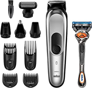 Braun Recortadora MGK7220 10 en 1, Máquina recortadora de barba, set de depilación corporal y cortapelos para hombre, color gris plateado: Amazon.es: Salud y cuidado personal