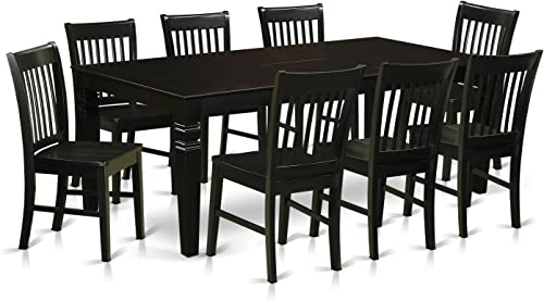 LGNO9-BLK-W 9 Pc Dining set with a Dining Table and 8 Wood Dining Chairs in Black