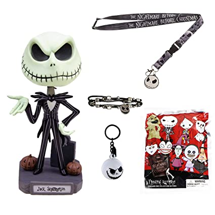Christmas Skeleton.Nightmare Before Christmas 5 Piece Gift Bundle Jack Skeleton Bobble Head 3d Jack Key Chain Blind Keychain Pack Bracelet And Lanyard