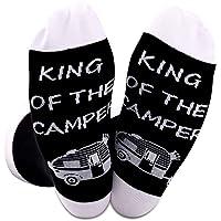 Queen of The Camper Socks Outdoor Camping Camper Girls Novelty Socks RV Gift Happy Camper Gift King of The Camper
