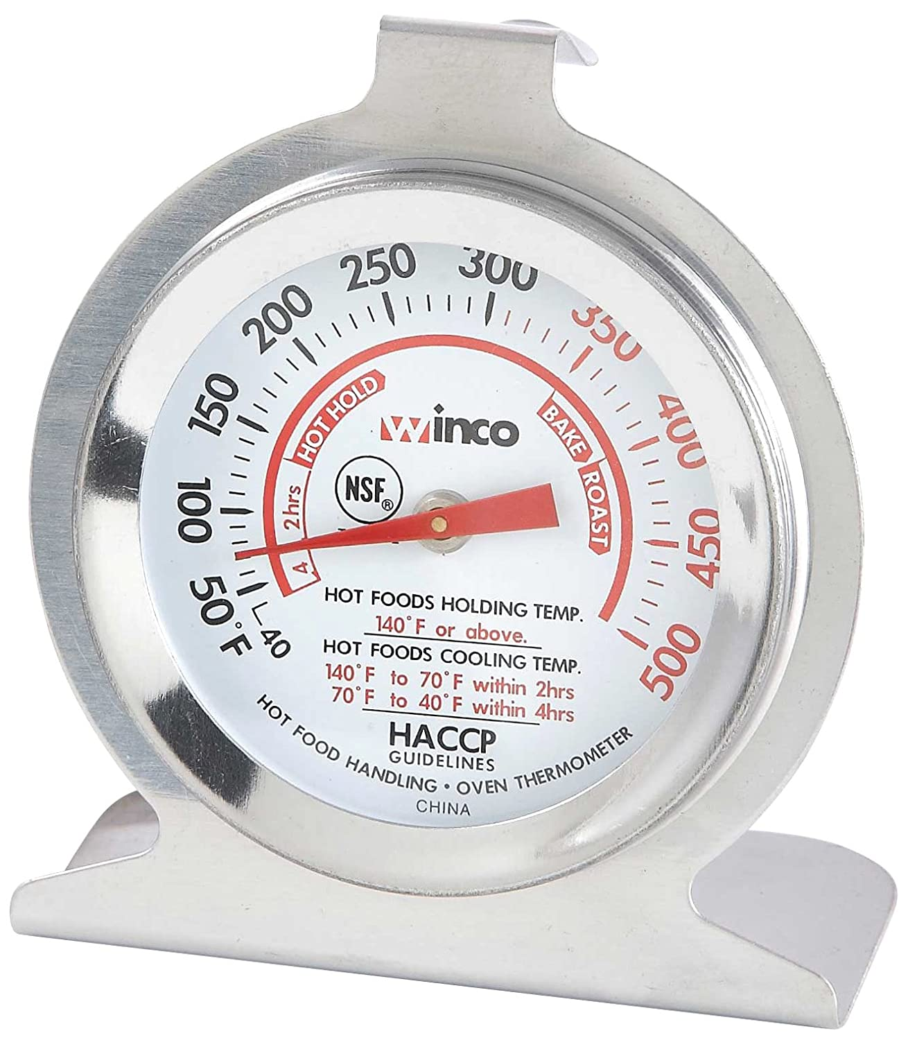 Winco 2-Inch Dial Oven Thermometer with Hook and Panel Base