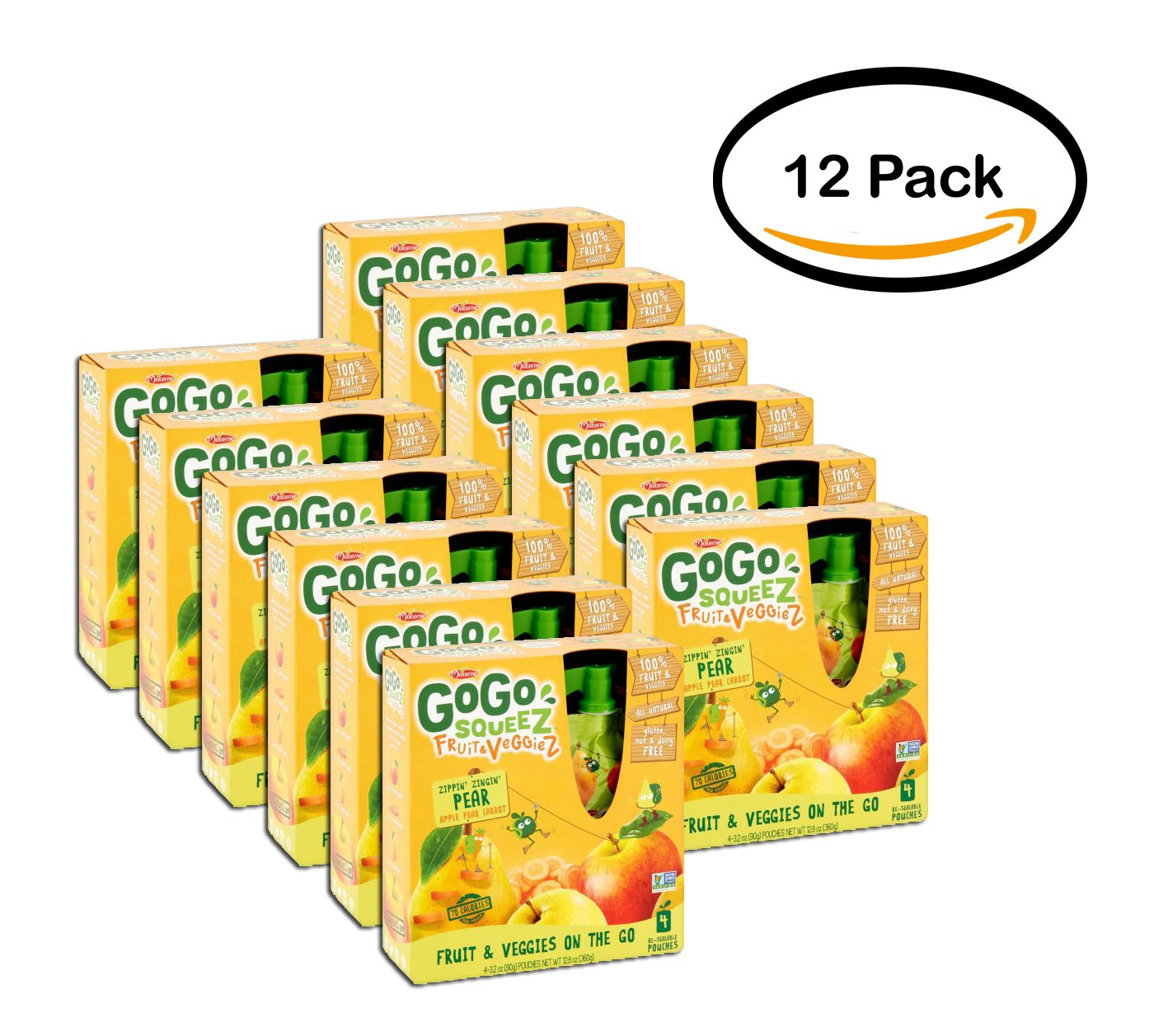 PACK OF 12 - GoGo Squeez Fruit & Veggiez On The Go Apple Pear Carrot - 4 CT by Materne (Image #1)