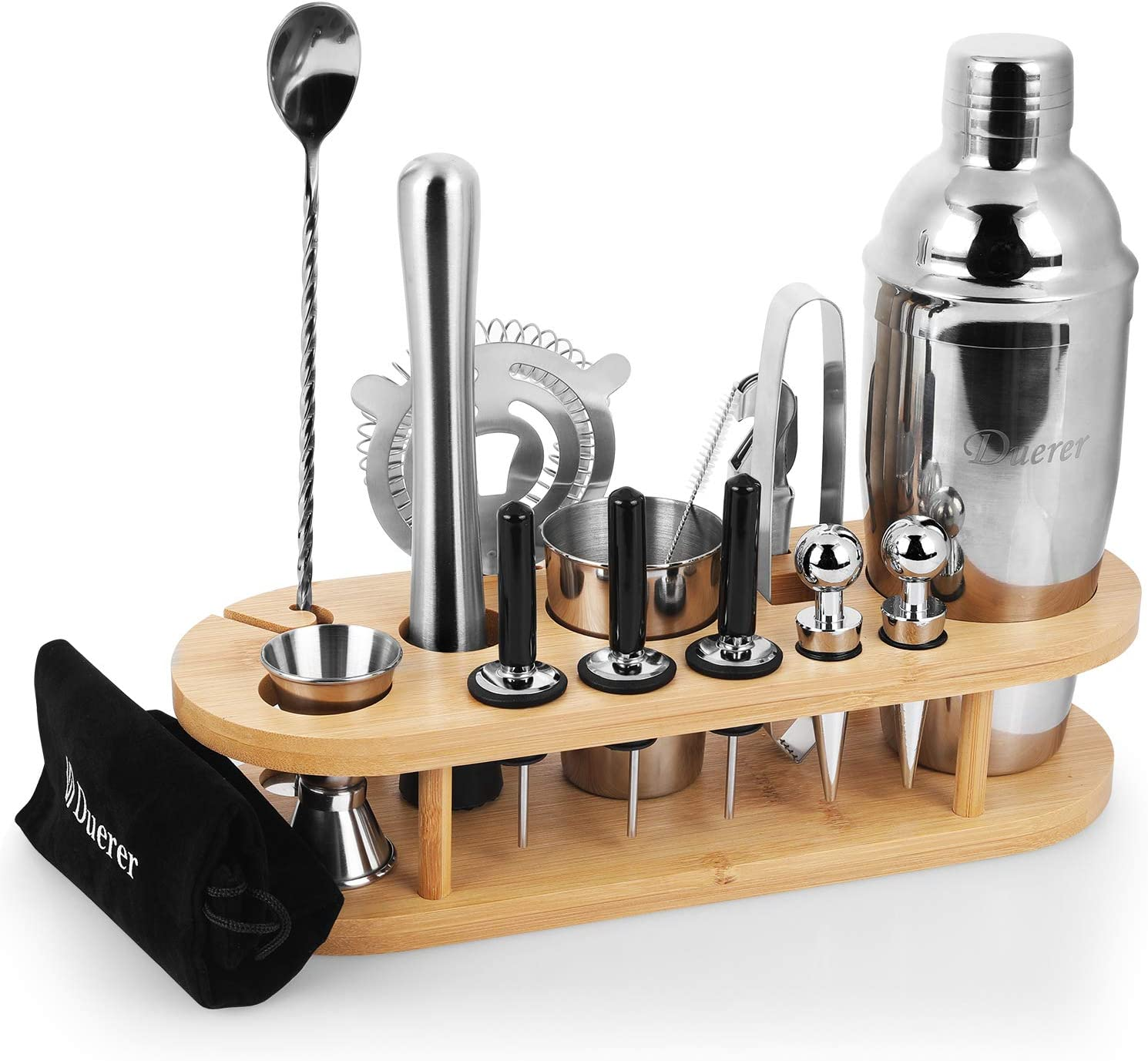 Duerer Bartender Kit con soporte, conjunto de coctelera de 23 piezas con elegante soporte de bambú, Perfect Home Bar Tool Set y kit profesional ...