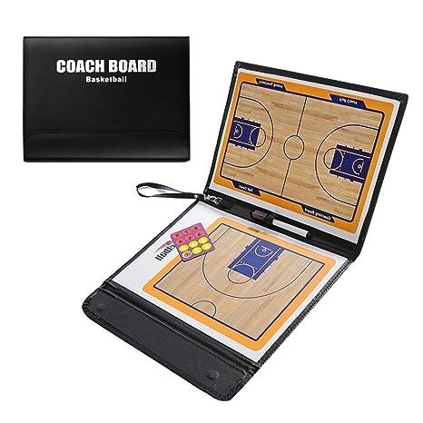 Pizarra táctica de baloncesto para entrenador de Odowalker, con funda de piel sintética y borrado en seco