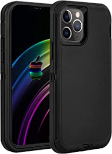 RegSun Compatible with iPhone 12 Case,iphone 12 Pro Case,Shockproof 3-Layer Full Body Protection Heavy Duty High Impact Drop Protection Hard Cover Case Compatible with iPhone 12 Pro 6.1 inch,All Black