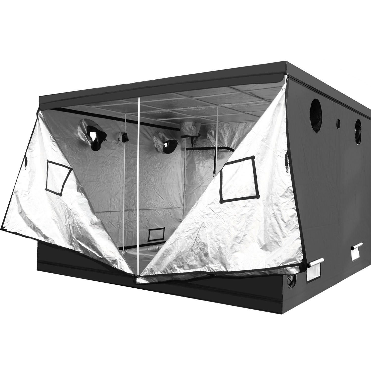 iPower 36x36x72 3x3 Hydroponic Mylar Grow Tent with Observation Window Tool Bag and Floor Tray for Grow Light and Indoor Plant Growing