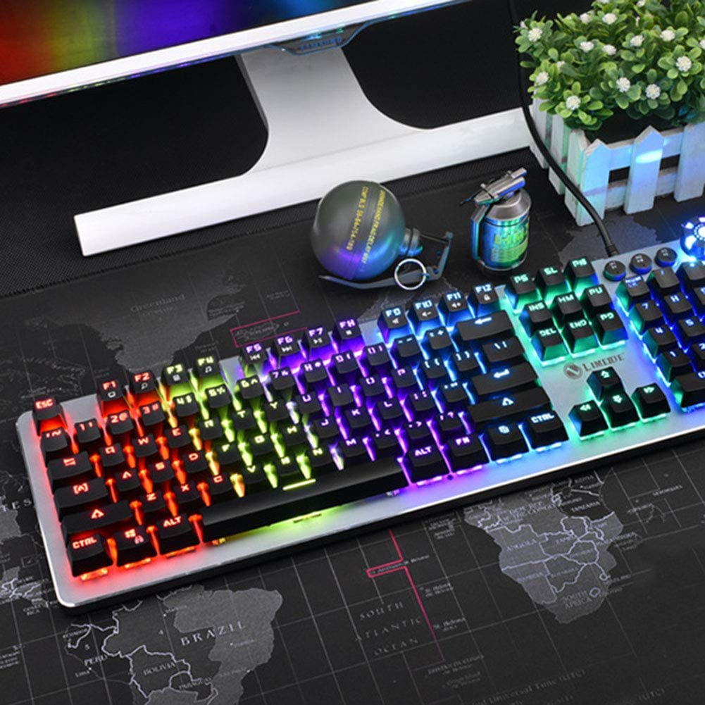 USB Wired Keyboard and Spill-Resistant for Windows PC Gamers Desktop 1 Pack,Silver Feeling-one Gaming Keyboard Colorful Rainbow LED Backlit Wired Computer Gaming Keyboard with 104 Keys