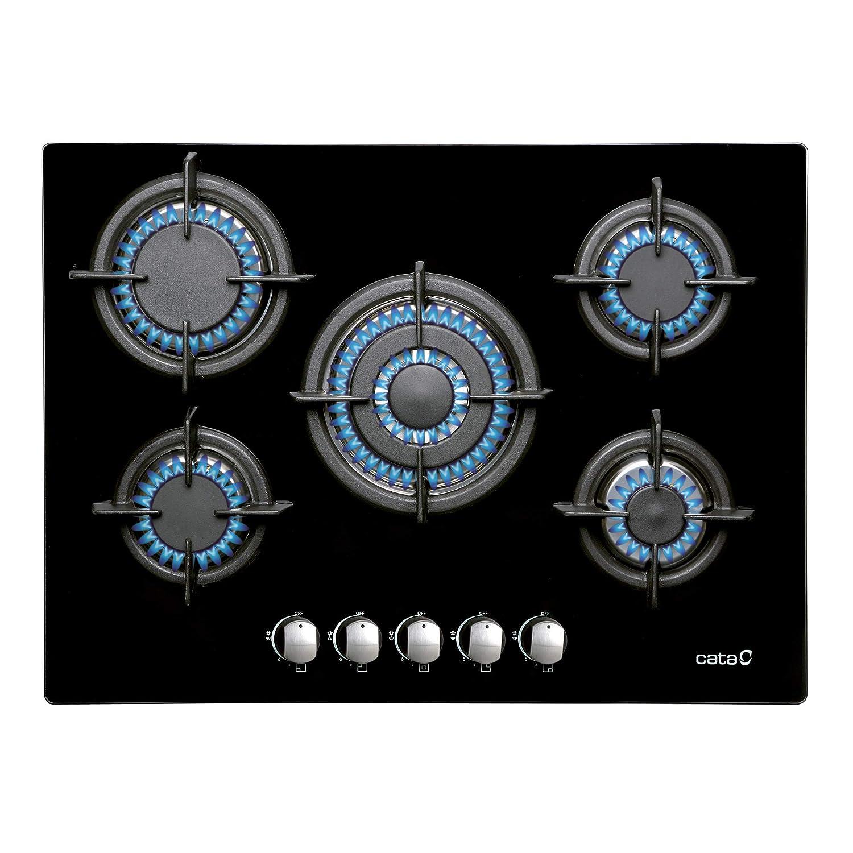 CATA | Modelo L 705 CI BK | Encimeras de gas butano 5 Fuegos | Cocina de gas | Ancho de 77 cm | Parrillas/Quemadores hierro fundido | potencia 10,9 kW