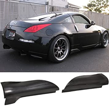 Side Skirts Fits 2003 2008 Nissan 350Z | JDM Style Black PU Sideskirt  Rocker Moulding