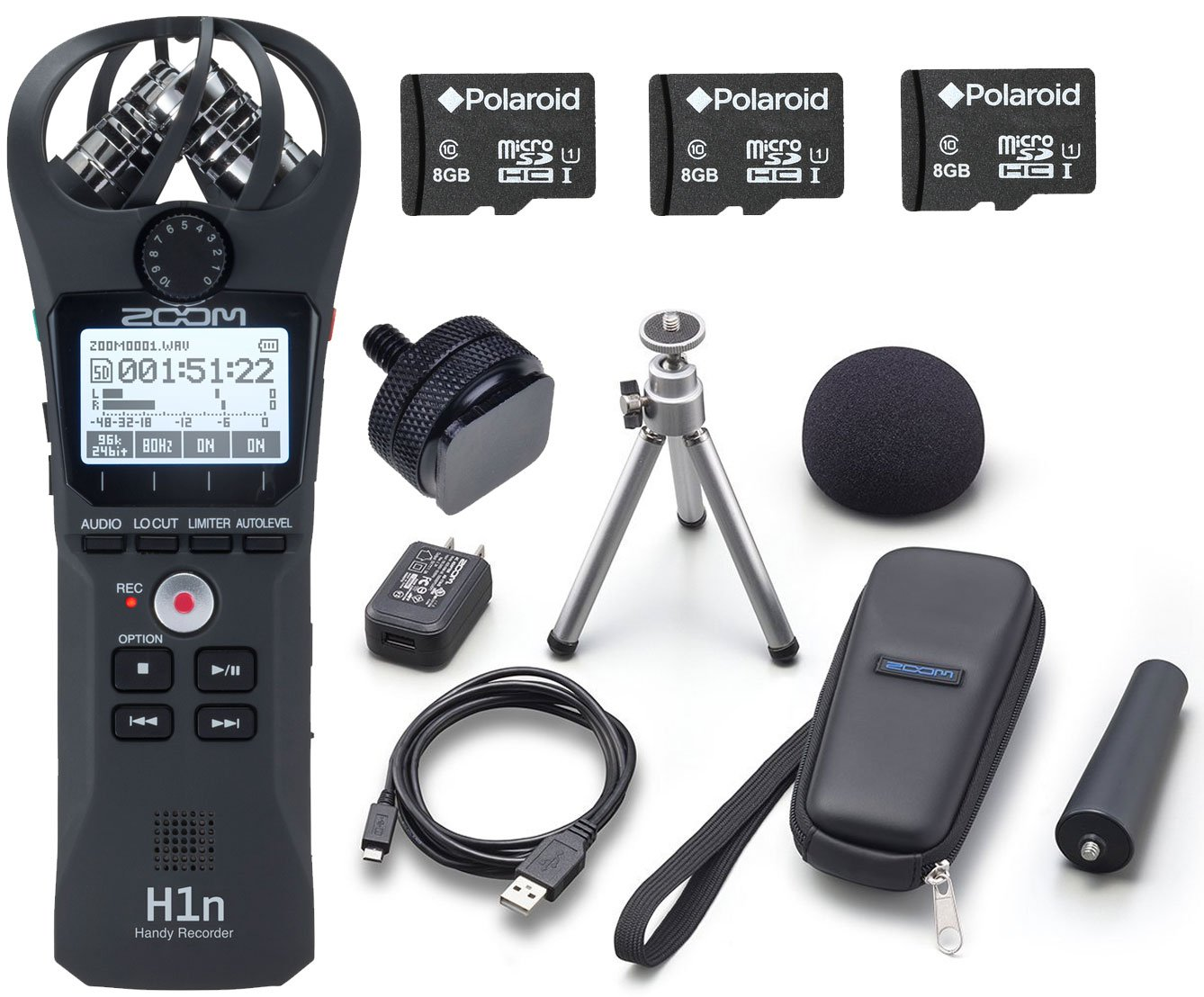 Zoom H1n Handy Pocket-Sized Digital Recorder w/Accessory Pack and 3 Pack Polaroid 8GB Micro SDHC Cards