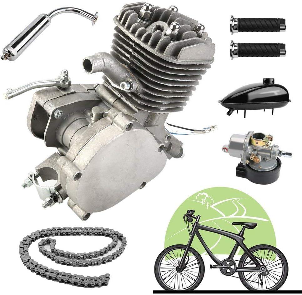 yesper 80 cc de 2 del motorizado bicicleta Motor de gasolina Kit DIY Motor Bike Motor de gasolina Gas Engine Kit Set Plata: Amazon.es: Coche y moto
