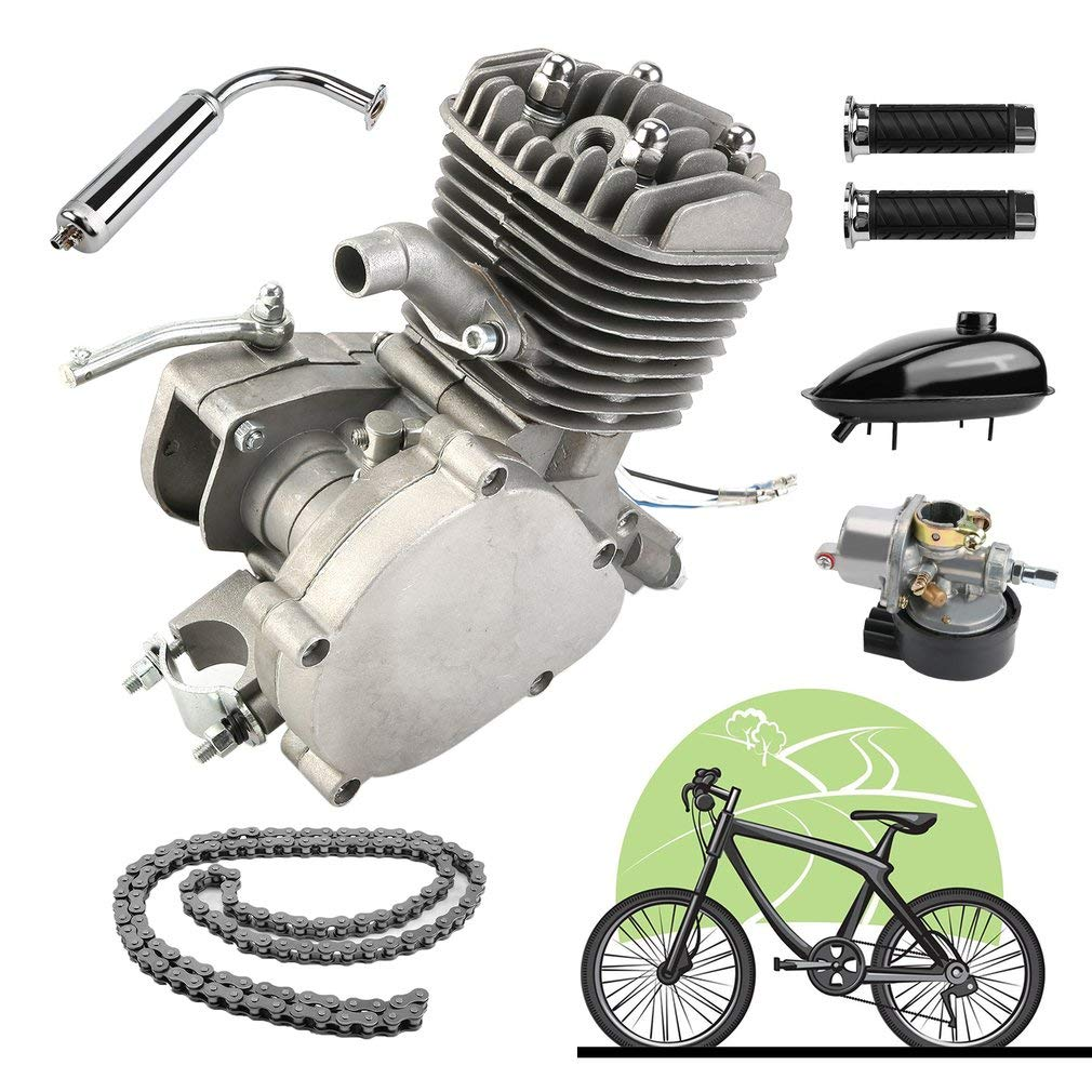 80  CC 2  tempi ciclo Motorized Engine Kit Pedale Benzina Gas Motore  –   Cilindro raffreddato  –   Conversion Kit per bicicletta motorizzato Poncherish3DE