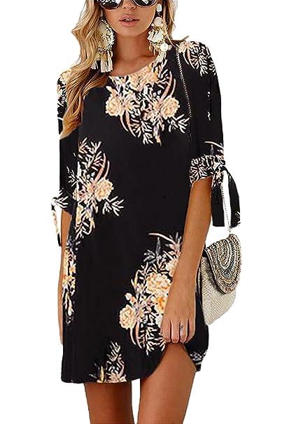 61f63929b587b PRETTYGARDEN Women's Tie Sleeve Floral Print Swing Fit Crew Neck Casual  Chiffon Plus Size Tunic T-Shirt Mini Dress