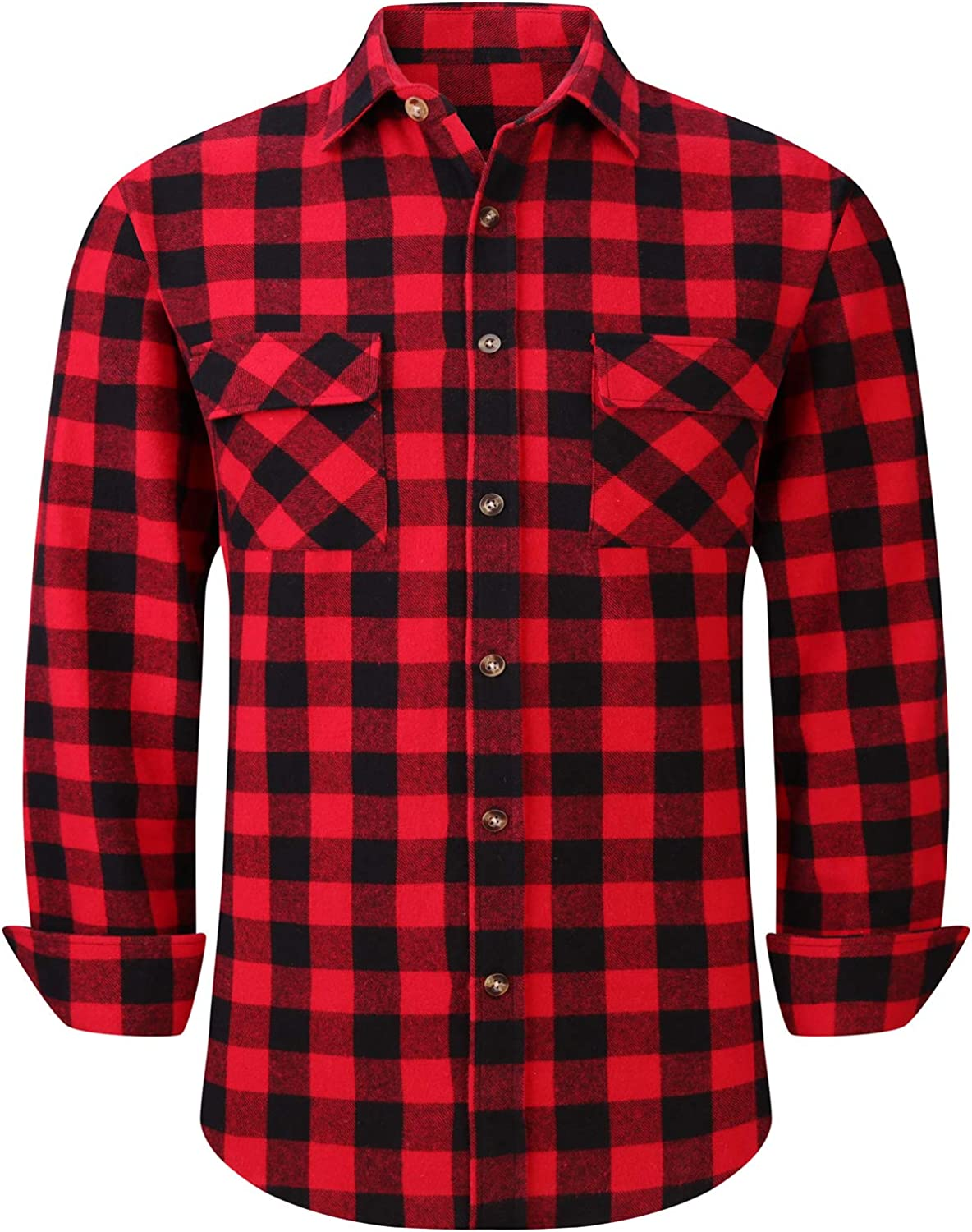 Men's Plaid Flannel Shirts Long Sleeve Regular Fit Button Down Casual Shirts