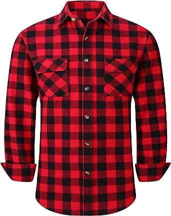 Camisas de franela a cuadros de los hombres de manga larga ajuste regular botón abajo camisas casuales