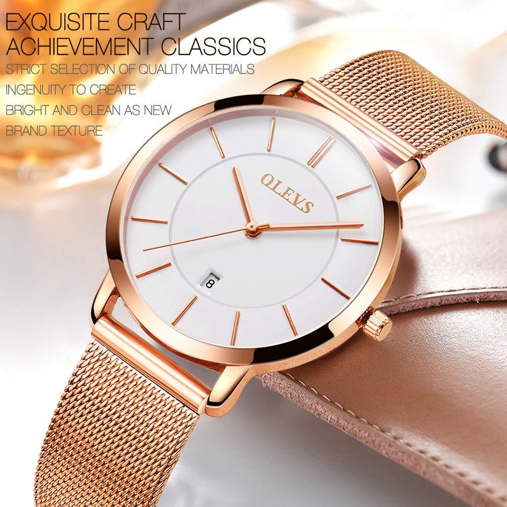 Amazon.com: Luxury Watch Woman Ultra Thin Watch Women Female Rose Gold Steel Ladies Watch Blue/Black/White Dial Waterproof Lady Fashion Calendar Analog ...