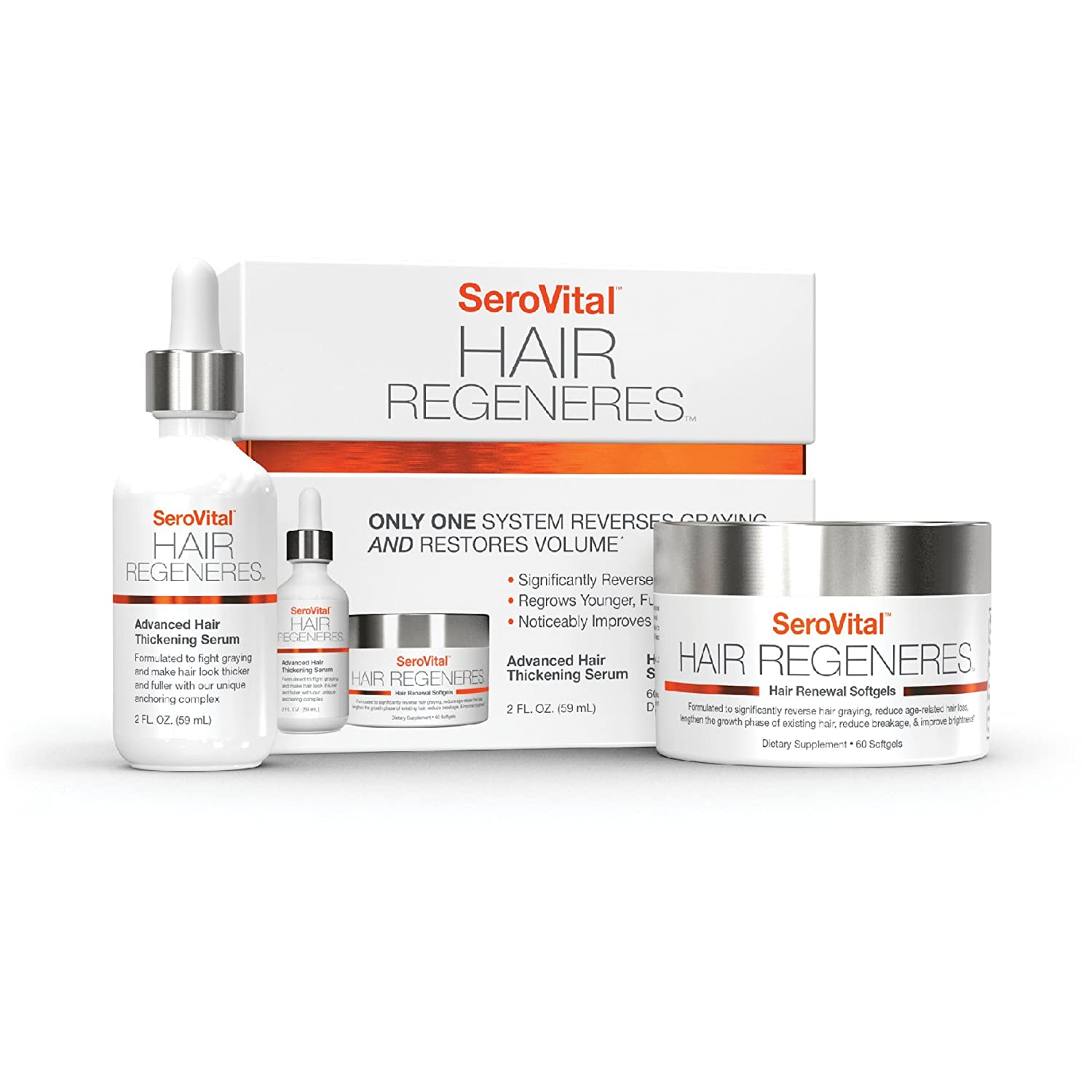 Serovital Hair Regeneres - Revolutionary System That Significantly Reverses Hair Graying, Restores Hair Volume, Revitalizes the Scalp, and Strengthens Hair San Medica