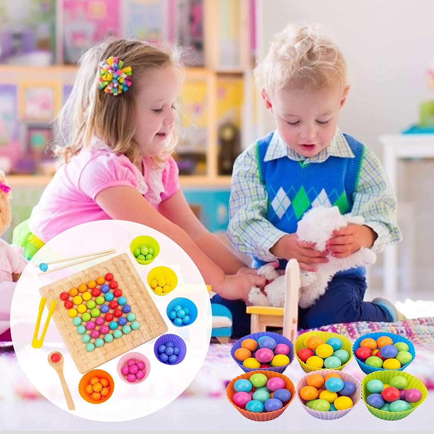 Wooden Go Games Set Dots Shuttle Beads Board Games,Wooden Clip Beads Rainbow Toy,Holz Go Spiele Set Dots Shuttle Perlen Brettspiele,Holz Clip Beads Rainbow Toy Early Education Puzzle Brettspiel