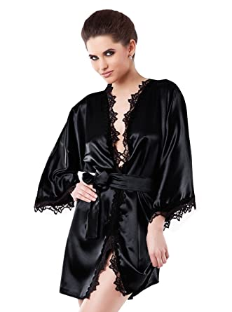 Dkaren Women s Kimono Satin Nightgown Robe Lingerie Set at Amazon Women s  Clothing store  Bathrobes a2fbfb2934