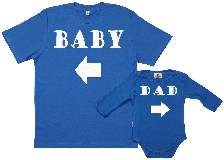 SR - Exklusive Geschenkbox - Baby & Dad Arrow 100% Biobaumwolle - Vater T-Shirt & Baby Body in Geschenkbox GRO120