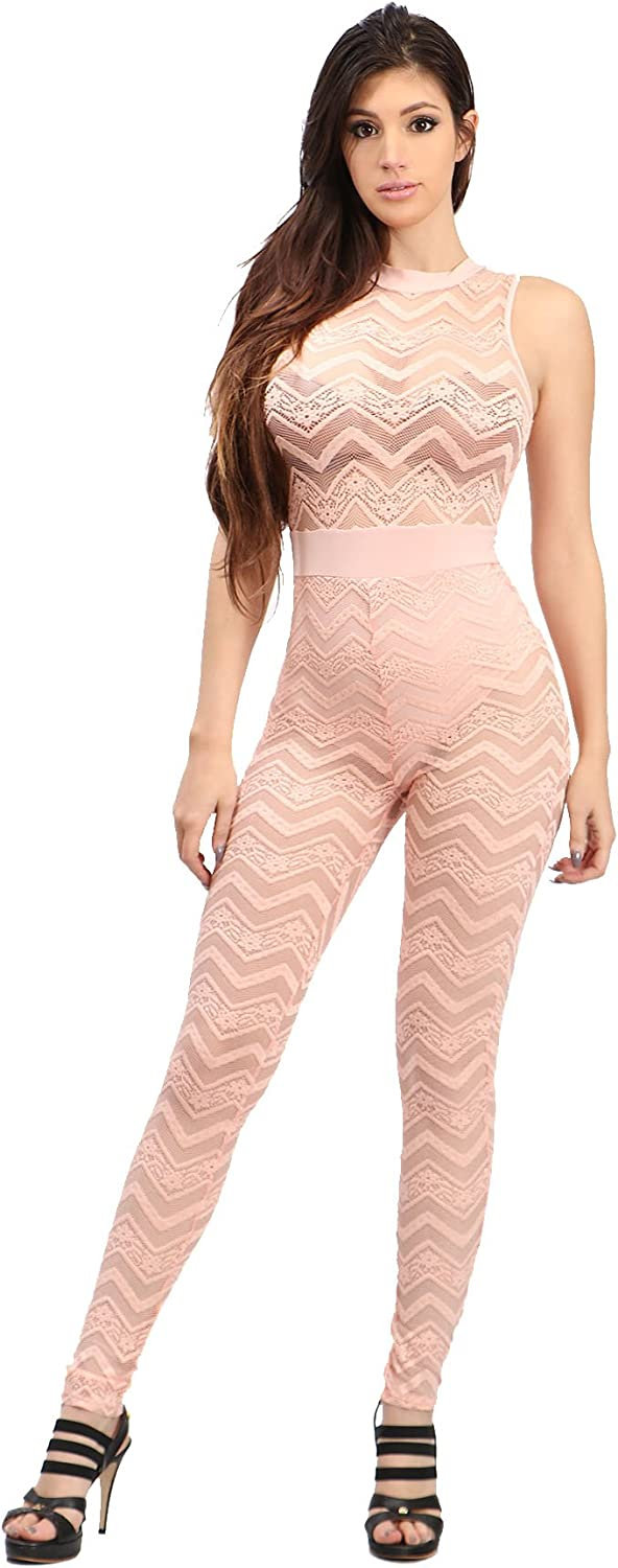 Womens Sleeveless Chevron Floral Lace Patterned Jumpsuit Casual Fashion Overall