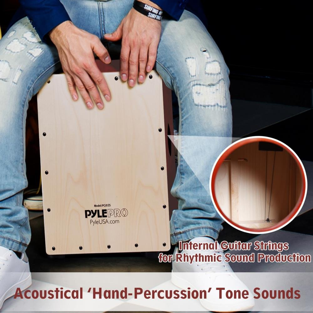 and Adults Wooden Hand Drum Percussion Box with Internal Guitar Strings PCJD16 For Kids Classic Slap and Crackle Sound Teens Pyle Stringed Birch Wood Compact Acoustic Jam Cajon Deep Bass