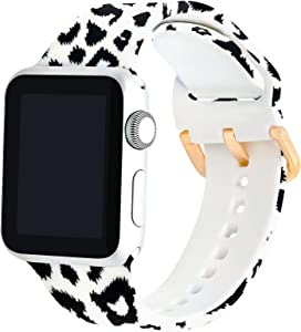 PROSRAT Floral Bands Compatible with Apple Watch 38mm 40mm 42mm 44mm for Women Men,Silicone Flower Pattern Printed Wristband for iWatch Series SE/6/5/4/3/2/1 (38mm/40mm, Black Leopard)
