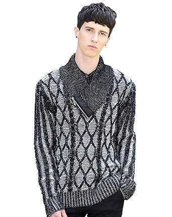 Liveinu Mens Knitted Pullover Shawl Collar Sweater Lattice Pattern
