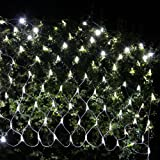 Ollny LED Fairy String Decorative Lights 9.8ft x 6.6ft 200 LEDs Net Mesh Tree-wrap Lights Low Voltage 8 Modes for Christmas Wedding Garden Decorations Home Garden Pure White