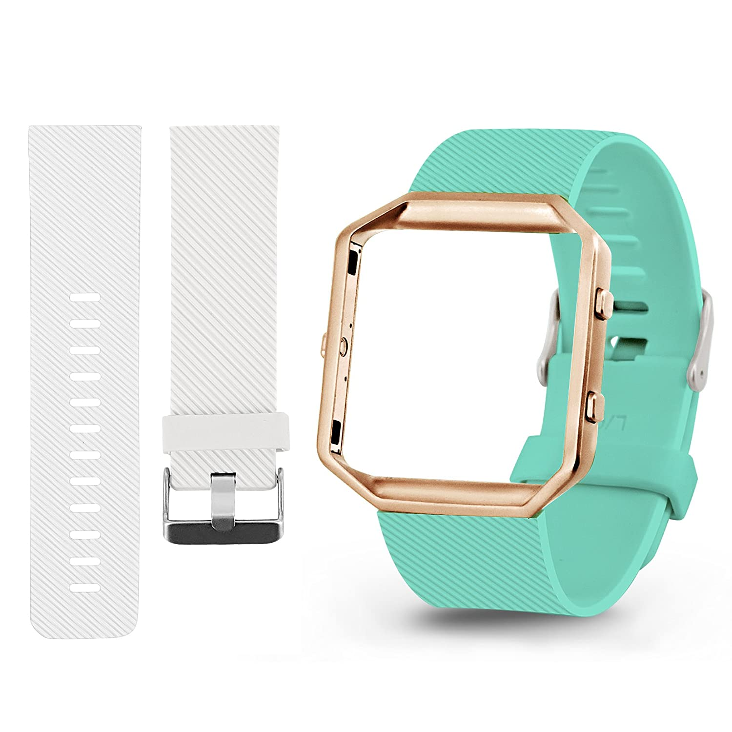 fundro Fitbit Blaze Bands withフレーム、フレーム付きシリコン交換用バンドストラップケースfor Fitbit Blaze Smart Fitness Watch, Small/Large Large (6.7\ A# 2-Pack (White+Teal With Rose Gold Frame) B07C9XZRXX