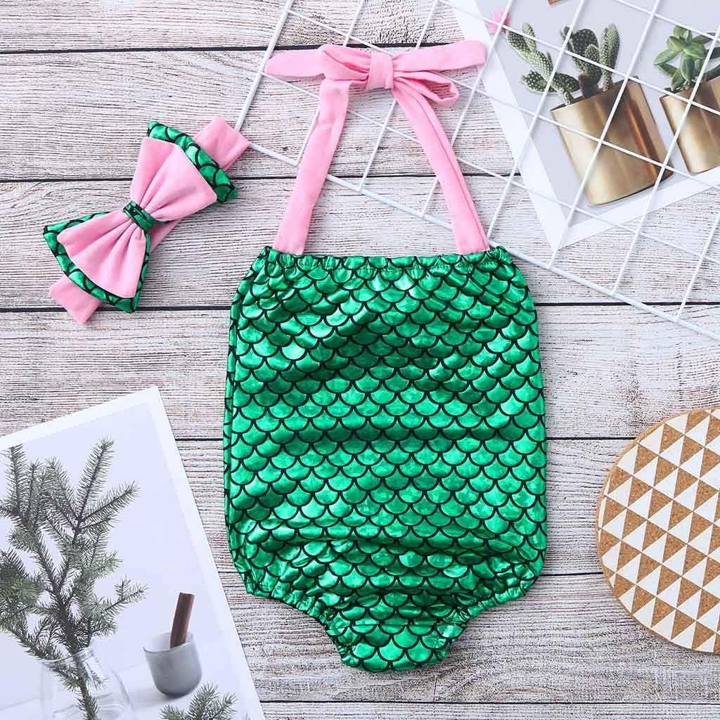 Children Kids Girls Bikini Colorful Fish Scale Beach Bowknot Print Swimsuit+Headbands Swimwear Set