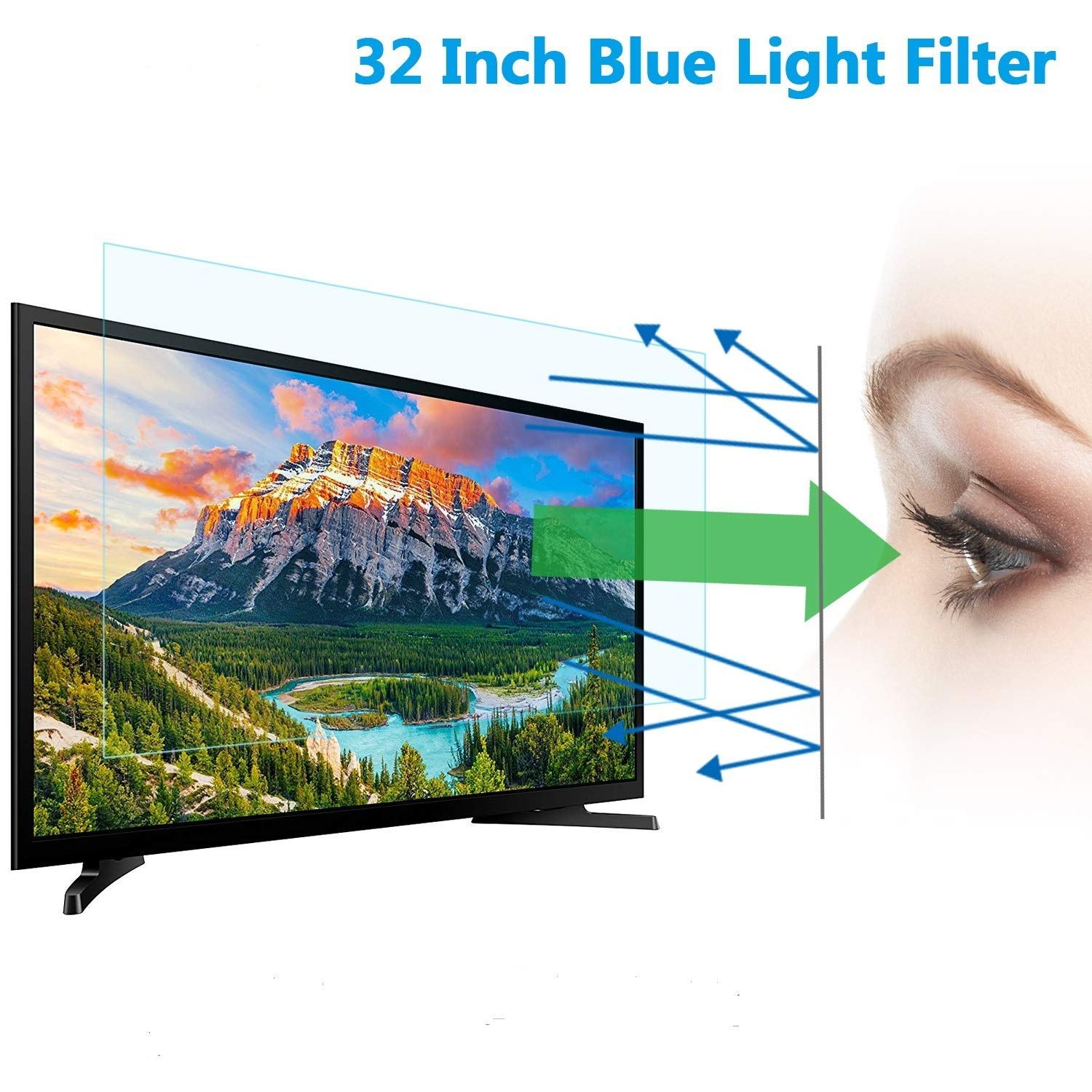 32'' TV Blue Light Screen Protector, Eye Protection Blue Light Protector Blocks Reduce Eye Fatigue and Eye Strain for 32'' LCD, LED, OLED & QLED 4K HDTV by LILIONGTH
