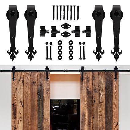 Superbe Hahaemall 8 16FT Antique Rustic Sliding Barn Door Hardware Black Steel  Track Roller Hanging Kit