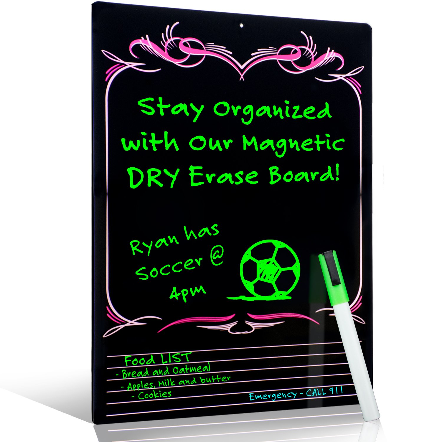 Smart Planner's RIGID Multi-Purpose Magnetic Wall Hanging Dry Erase Message Board & Organizer | Chores, To-do list, Reminders Planner for Home, Office or School | with Marker (Pink/White)